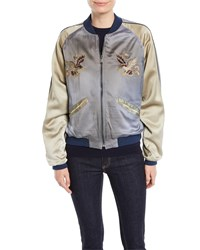 Ralph Lauren Henrique Embroidered Quilted Silk Bomber Jacket Blue