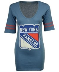Retro Brand Women's New York Rangers Vintage Sleeve Stripe T Shirt Blue