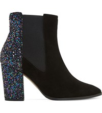 Dune Order Glitter And Suede Chelsea Boots Black Suede