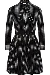 Saint Laurent Polka Dot Silk Crepe De Chine Dress Black