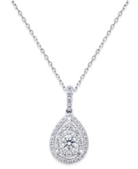 Macy's Diamond Cluster Pendant Necklace 5 8 Ct. T.W. In 14K White Gold
