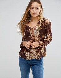 Vero Moda Juliet Floral Sheer Blouse In Red Red