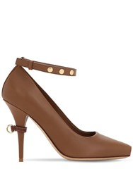 Burberry 105Mm Jermyn Open Toe Leather Pumps Tan