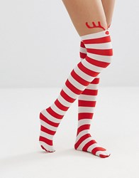 Leg Avenue Rudolph Reindeer Tights Red White