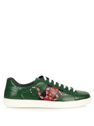 Gucci Ace Snake Print Leather Trainers Green Multi