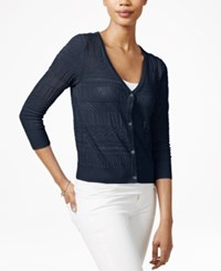 Maison Jules Three Quarter Sleeve Open Knit Cardigan Only At Macy's Blu Notte