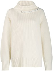 Sacai Zip Trim Roll Neck Jumper White