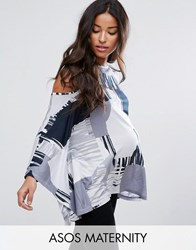 Asos Maternity Top With Cold Shoulder And Kimono Sleeve In Blurred Print Multi