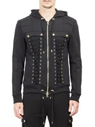 Balmain Lace Up Zippered Hoodie Black