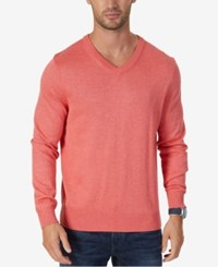 Nautica Men's Classic Fit V Neck Sweater Washed Red Heather