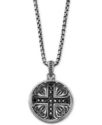 Scott Kay Men's Black Sapphire Medallion Pendant Necklace 5 8 Ct. T.W. In Sterling Silver
