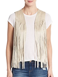 Saks Fifth Avenue Red Fringe Vest Natural