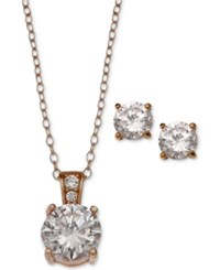 Giani Bernini 2 Pc. Set Cubic Zirconia Round Pendant Necklace And Stud Earring Set In 18K Rose Gold Plated Sterling Silver Only At Macy's