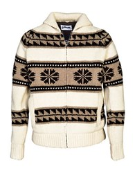 Schott Cowichan Sherpa Lined Sweater Jacket Off White