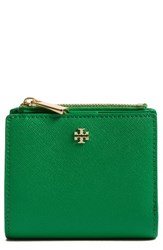 Tory Burch Women's 'Mini Robinson' Leather Wallet Green Court Green