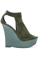 Balmain Amaya Cutout Suede And Mirrored Leather Wedge Sandals Army Green