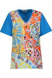 Emilio Pucci Printed Cotton Jersey T Shirt Azure