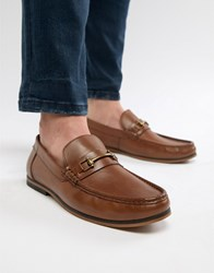Asos Design Loafers In Tan Leather With Snaffle