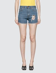 Fiorucci Kissing Angel Shorts Blue