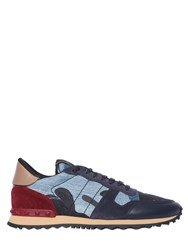 Valentino Rockrunner Denim And Suede Sneakers