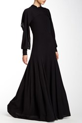 Yigal Azrouel Silk Cape Sleeve Pleated Gown Black
