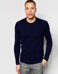 Weekday Japser Long Sleeve Jersey Shirt Top In Navy Navy 73 219