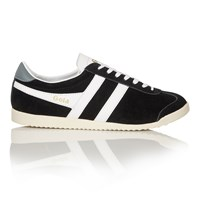 Gola Bullet Suede Lace Up Trainers Black White Black White
