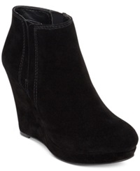 Jessica Simpson Calwell Platform Wedge Booties Women's Shoes Black Suede