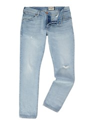 Wrangler Men's Larston Slim Fit Jeans Denim Light Wash