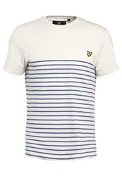 Lyle And Scott Breton Stripe Print Tshirt Storm Blue Off White