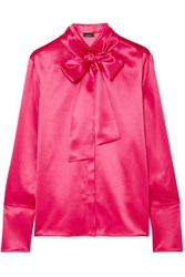 Akris Pussy Bow Mulberry Silk Satin Blouse Bright Pink