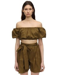 Staud Off The Shoulder Nylon Crop Top Army Green