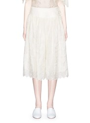 Ms Min Broderie Anglaise Flared Silk Skirt White