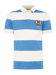 Howick Men's Santa Cruz Block Stripe Short Sleeve Rugby Powder Blue