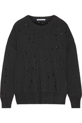 Alexander Wang T By Distressed Stretch Knit Sweater Black