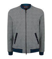 Ted Baker Qwean Houndstooth Checked Bomber Jacket Male Grey