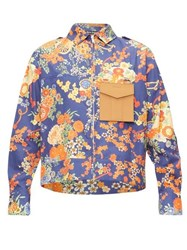 Palm Angels Contrast Chest Pocket Floral Print Shirt Blue Multi