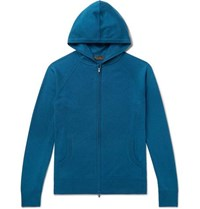 Loro Piana Portland Cashmere And Silk Blend Zip Up Hoodie Blue
