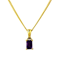 A B Davis 9Ct Gold Amethyst Pendant Necklace Purple