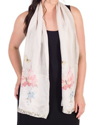 Chesca Butterfly And Floral Print Scarf Pink Champagne