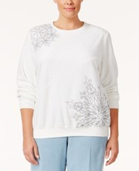 Alfred Dunner Plus Size Northern Lights Collection Embroidered Sweater White