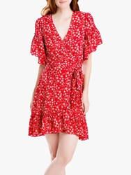 Max Studio Floral Print Ruffle Wrap Dress Scarlet
