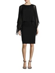 Rickie Freeman For Teri Jon Cape Sleeve Embellished Neck Dress Black