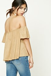 Forever 21 Faux Suede Off The Shoulder Top Camel