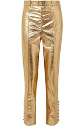 Hillier Bartley Metallic Leather Tapered Pants Gold