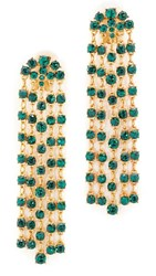 Oscar De La Renta Crystal Tassel Earrings Emerald