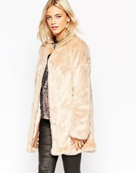 Oasis Collarless Faux Fur Jacket Nude