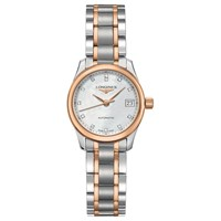 Longines L21285897 Women's Master Collection Automatic Diamond Date Two Tone Bracelet Strap Watch Silver Rose Gold