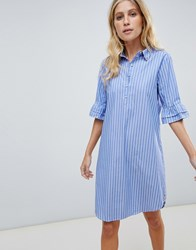 Maison Scotch Shirt Dress With Ruffle Sleeves Blue