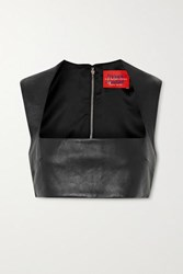 Solace London Hallie Cropped Leather Top Black